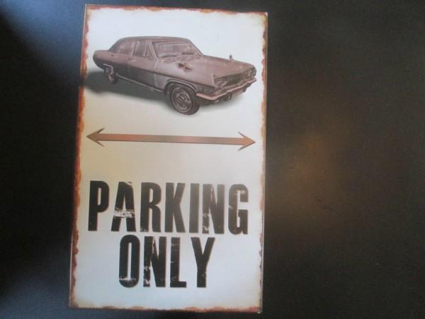 """Opel Diplomat A Parkschild Parkplatzschild Schild """"PARKING ONLY"""" 40x25cm NEU"""