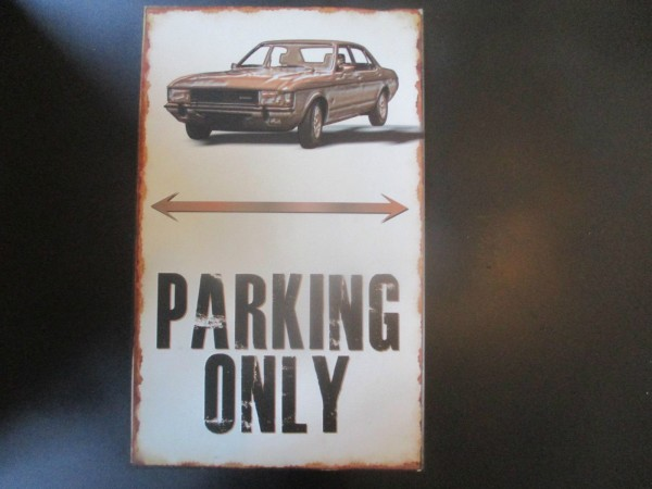 "Ford Consul Parkschild Parkplatzschild Schild ""PARKING ONLY"" 40x25cm"