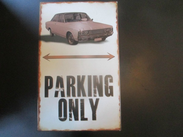 "Ford Taunus P7 P7b Parkschild Parkplatzschild Schild ""PARKING ONLY"" 40x25cm"