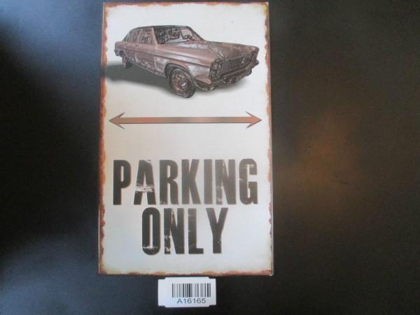 """Opel Diplomat B Parkschild Parkplatzschild Schild """"PARKING ONLY"""" 40x25cm NEU"""
